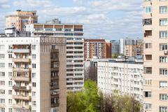 urban residential district in sunny day - stock photo