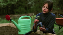 Boy with a seedling in her hands.Organic farming. - stock footage