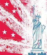 Statue of Liberty, grunge background Stock Illustration