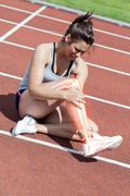 Highlighted bones of injured woman on track Stock Illustration