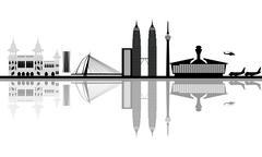 Kuala lumpur city skyline - stock illustration