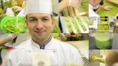 Chef smiles to camera - montage (compilation) - production of pasta-process Stock Footage