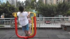 Two children are playing Stock Footage