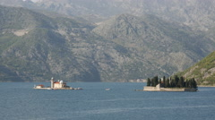 St. George island and the artificial island Gospa od Škrpjela in Perast Stock Footage