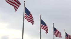 Washington DC Washington Monument USA flags close 4K 051 Stock Footage
