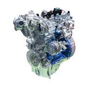 Car engine isolated on white - stock photo