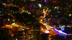 Ho Chi Minh City night aerial view with traffic. 4K resolution time lapse. Stock Footage