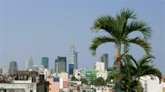 Ho Chi Minh City - April 2015: Palm tree with Ho Chi Minh City skyline Stock Footage