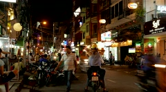 Ho Chi Minh City - April 2015: Backpacker's area street view at night. 4K Stock Footage