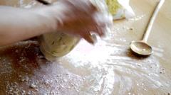 Preparing to bake biscuit Stock Footage