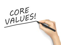 Core values words written by hand Stock Illustration