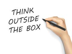 think outside the box words written by hand - stock illustration