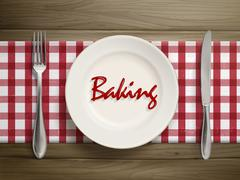 Stock Illustration of baking word written by ketchup on a plate