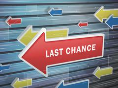 Stock Illustration of moving red arrow of last chance words