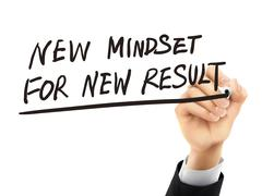 New mindset for new results written by 3d hand Stock Illustration