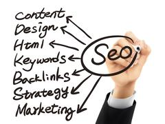 SEO concept written by 3d hand Stock Illustration