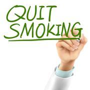 doctor writing quit smoking words - stock illustration
