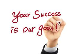 Your success is our goal written by 3d hand Stock Illustration