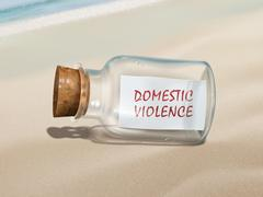 domestic violence message in a bottle - stock illustration