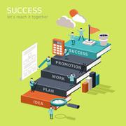Reach success concep flat 3d isometric infographic Stock Illustration