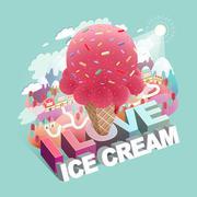 Love ice cream concept flat 3d isometric infographic Stock Illustration
