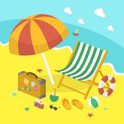 summer holiday 3d isometric infographic - stock illustration