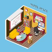 3d isometric infographic for cozy work space Stock Illustration