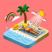 summer recreation concept 3d isometric infographic - stock illustration