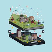 navigation concept 3d isometric infographic - stock illustration