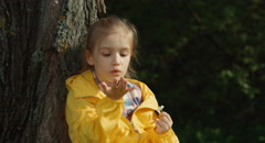 Girl tearing off petals of a daisy. Girl sitting under a tree - stock footage
