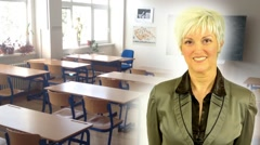 Business middle aged woman smiles - school class - empty with board Stock Footage