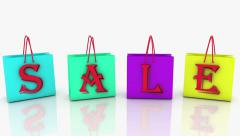 Shopping bags in various colors with inscription SALE Stock Footage