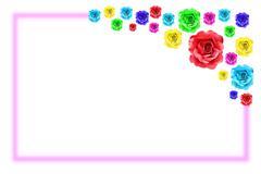 Stock Illustration of colorful rose flower frame