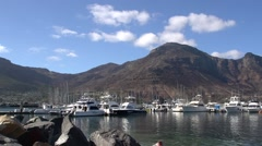 Hout Bay yacht basin/ harbour.Wide shot Stock Footage