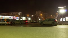 Timelapse parking night city joshkar-ola mari el 4 Stock Footage