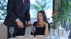 Romantic dinner in the restaurant - stock footage