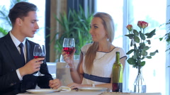 Amorous Celebratory supper for two - stock footage