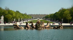 Fountain of Apollo and Versailles palace. France Stock Footage