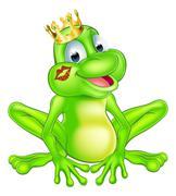 Cartoon frog prince Stock Illustration