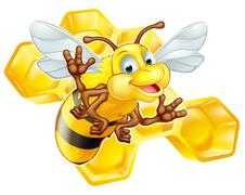 Cartoon cute bee with honeycomb - stock illustration