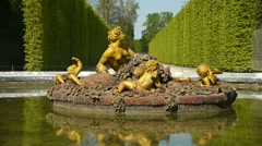 Fountain of Flora, seasonal pond at Versailles. France Stock Footage