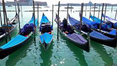 4K Gondolas in Venice, Italy. UHD steadycam stock video Stock Footage