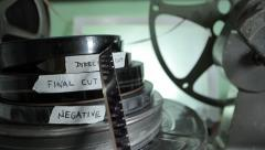Film canister final cut. Movie Reel. Director's cut 16mm. Stock Footage