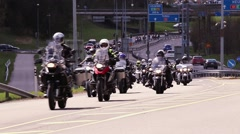 Motorcycle convoy Stock Footage