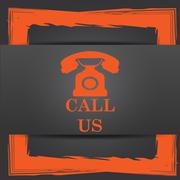 Stock Illustration of Call us icon. Internet button on grey background..