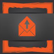 Stock Illustration of Send e-mail icon. Internet button on grey background..