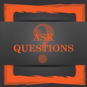 Stock Illustration of Ask questions icon. Internet button on grey background..