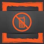 Stock Illustration of Mobile phone restricted icon. Internet button on grey background..