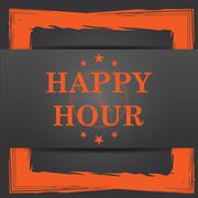 Stock Illustration of Happy hour icon. Internet button on grey background..