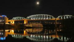 Nashville General Jackson Shelby Street Bridge Full Moon Cinematic Stock Footage